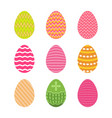 set of easter eggs in pastel colors with zigzag vector image