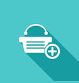 shopping bags icon with a long shadow vector image vector image