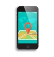 Smartphone and a map vector image vector image