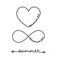 summer - word with infinity symbol hand drawn vector image vector image