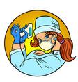 super hero nurse with remote thermometer vector image