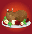 thanksgiving day greeting card with turkey vector image