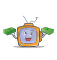 tv character cartoon object with money vector image vector image