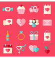 Valentine day flat style icon set over pink vector image vector image