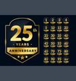 wedding anniversary labels set in golden vector image vector image