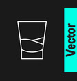 white line glass vodka icon isolated on black vector image vector image
