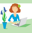 women with notebook and flowers vector image vector image