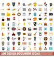 100 design document icons set flat style vector image vector image
