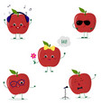 a set of five red apple smiley in a cartoon style vector image vector image