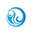 abstract circle human wave logo image vector image