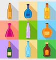 alcoholic drinks bottles icons set flat style vector image
