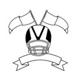 american football helmet with ribbon on white vector image vector image