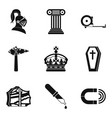 ancient war icons set simple style vector image