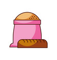 bakery sack of flour with whole bread vector image vector image