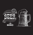 beer mug filled with beer vintage vector image