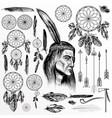 big collection or set hand drawn tribal objects vector image vector image