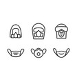 blue individual protection mask icons set vector image