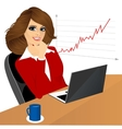 business woman with laptop in the office vector image vector image