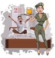 cartoon woman in camouflage uniform congratulates vector image