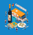 catering isometric composition vector image vector image