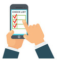 checklist in smartphone vector image