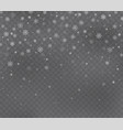 christmas snow on dark transparent background vector image