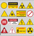color warning danger signs icon set vector image vector image