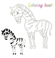 Coloring book bird zebra kids layout for game vector image vector image