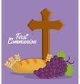 cross grapes bread wheat ear icon graphic vector image vector image