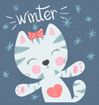 cute funny cat winter vector image vector image