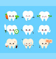 cute human tooth set healthy and unhealthy organ vector image
