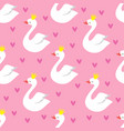 cute swan princess with crown seamless vector image