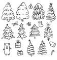 doodle different christmas tree with black vector image