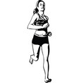 drawing of running woman silhouette vector image vector image