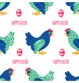 easter paper holiday chicken bird seamless pattern vector image vector image