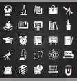 education icons set on black background for vector image