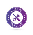 emergency repair service logo or badge with vector image