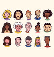 faces people character set human avatars vector image