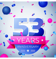 Fifty three years anniversary celebration on grey vector image vector image