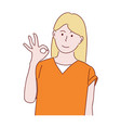 girl is showing a gesture okay ok vector image