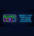 glowing neon signboard bar with billiards with vector image vector image