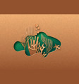 green paper cut clown fish coral reef concept vector image
