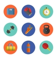 Gym sports equipment icons set vector image
