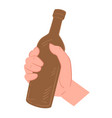 hand holding bottle beer pub or bar vector image