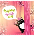 Happy Birthday card with a cute fat cat vector image vector image
