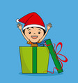 happy child with santa hat inside a gift package vector image vector image