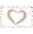 heart confetti isolated white background fall vector image vector image