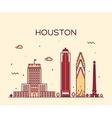 Houston skyline trendy linear vector image vector image