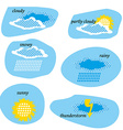 Icon Set for Weather Forecast Dotted Sun Clouds vector image