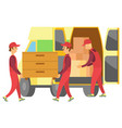 loaders carry estate from car to help moving vector image vector image